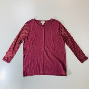 Ann Taylor LOFT Pink Mauve Polka Dot Sweater M